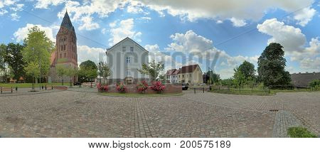 Panoramic View Of City Center In Guetzkow, Mecklenburg-vorpommern, Germany