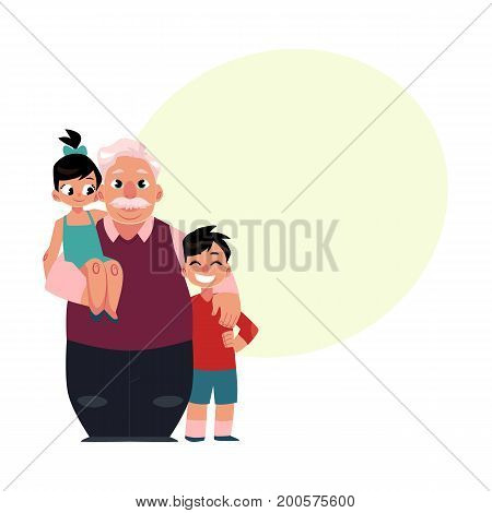 Family portrait, grandfather, grandpa standing with grandchildren, happy and smiling, cartoon vector illustration with space for text. Grandfather, grandpa with grandchildren, happy family concept