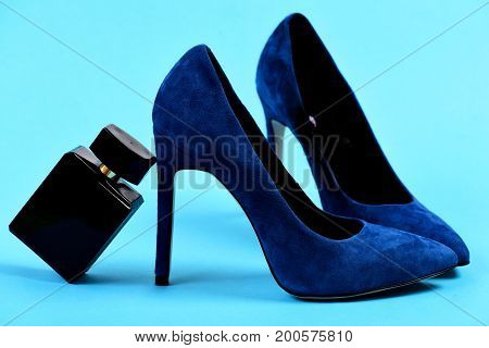 Fashion And Scent Concept. Female Formal Footwear And Perfume