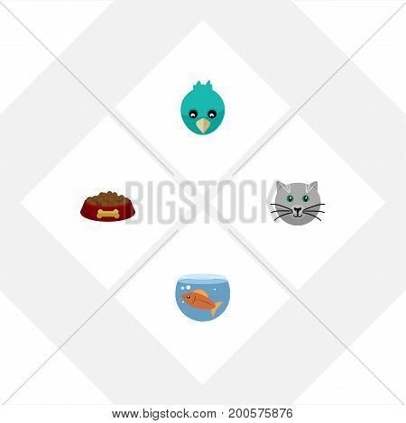 Flat Icon Animal Set Of Sparrow, Fishbowl, Kitty And Other Vector Objects