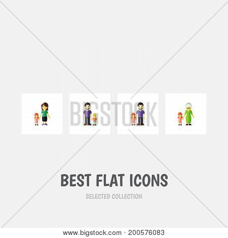 Flat Icon People Set Of Son, Father, Grandchild Vector Objects