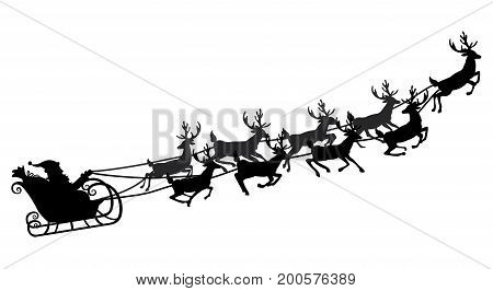 Santa flying in a sleigh with reindeer. Vector illustration. Isolated object. Black silhouette.