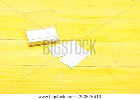 Stationery On Yellow Vintage Surface, Close Up.