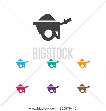 Vector Illustration Of Building Symbol On Pushcart Icon