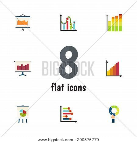 Flat Icon Chart Set Of Statistic, Graph, Diagram And Other Vector Objects