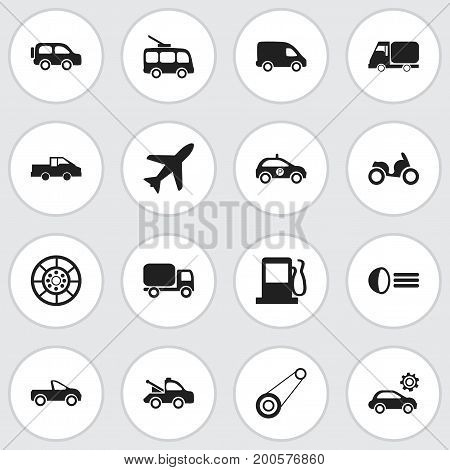 Set Of 16 Editable Shipment Icons. Includes Symbols Such As Wheel, Omnibus, Spyglass And More