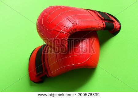 Pair Of Leather Boxing Sportswear. Boxing Gloves In Red