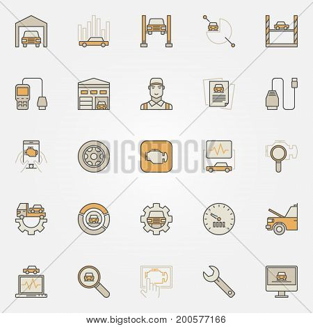 Car diagnostics colorful icons set. Car error readers and automotive diagnostic equipment creative symbols