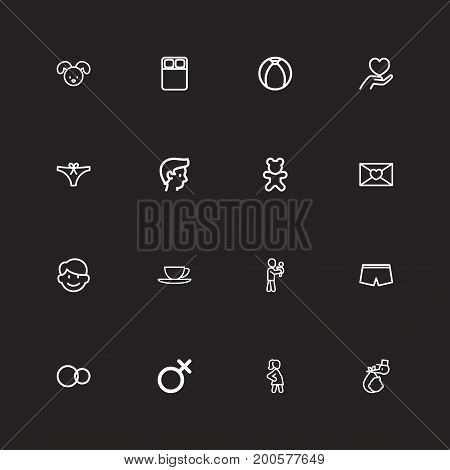 Set Of 16 Editable Kin Outline Icons. Includes Symbols Such As Doll, Affection Letter, Boy And More