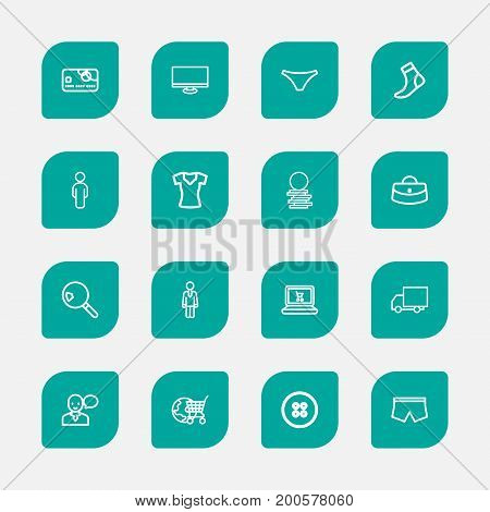 Set Of 16 Editable Shopping Outline Icons. Includes Symbols Such As Woman Bag, Globe Cart, Display And More