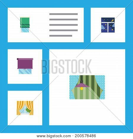 Flat Icon Window Set Of Curtain, Glass Frame, Frame And Other Vector Objects
