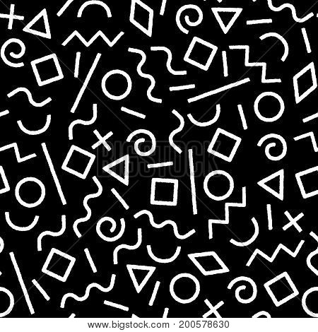 Black and white memphis abstract geometric shapes seamless pattern, vector background