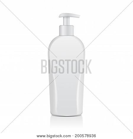 Realistic White Cosmetic Bottles. Tube Or Container For Cream, Ointment, Lotion. Cosmetic Vial for Shampoo, Soap. Vector Mock Up Illustration for your design