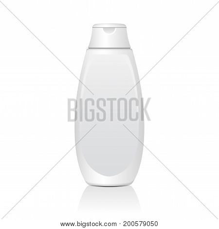 Realistic White Cosmetic Bottles. Tube Or Container For Cream, Ointment, Lotion. Cosmetic Vial for Shampoo. Vector Mock Up Illustration for your design