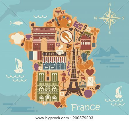 Traditional symbols of France in the form of stylized maps