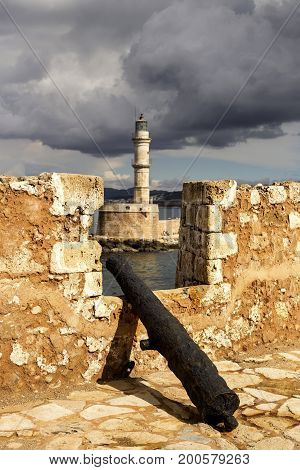 On the waterfront of the city of Chania (Crete, Greece)  in the coastal fortress, view of the old lighthouse