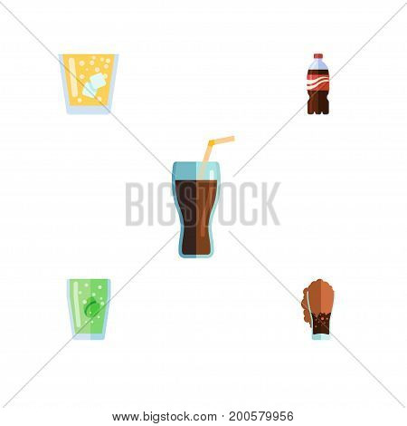 Flat Icon Beverage Set Of Soda, Lemonade, Fizzy Drink And Other Vector Objects