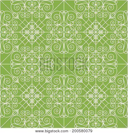 Vintage ornament on greenery seamless pattern background. decoration,
