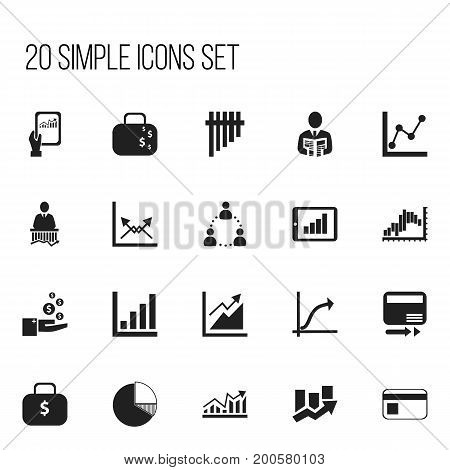 Set Of 20 Editable Logical Icons. Includes Symbols Such As Graph Information, Progress, Bank Payment And More