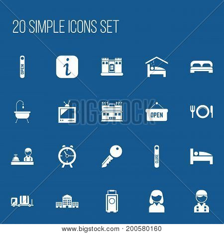 Set Of 20 Editable Motel Icons. Includes Symbols Such As Unblock Access, Townhouse, Open Sign And More