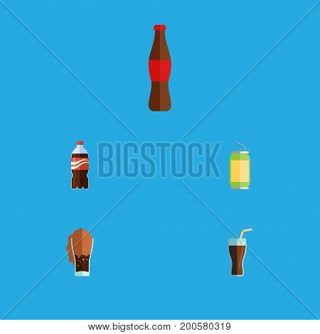Flat Icon Drink Set Of Soda, Bottle, Juice And Other Vector Objects