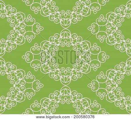 Abstract swirl greenery seamless pattern background. decoration,