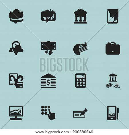Set Of 16 Editable Finance Icons. Includes Symbols Such As Salary, Savings, Edifice And More