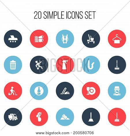 Set Of 20 Editable Hygiene Icons. Includes Symbols Such As Dishwashing, Window Cleaner, Housekeeping Cart And More