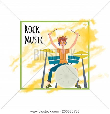 Young man playing drum set. Drummer, percussion musician. Vector illustration, poster template, isolated on white background.