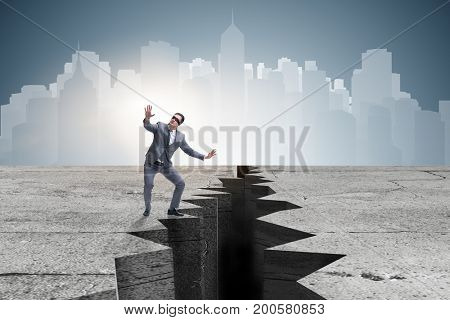 Blindfolded businessman in uncertainty concept