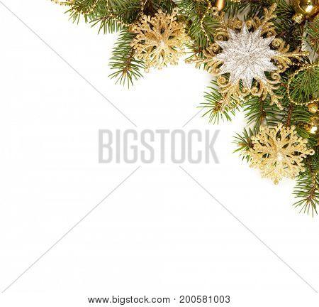 Christmas Border isolated  on white background.
