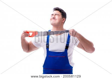 Man repairman with hand saw on white background isolated