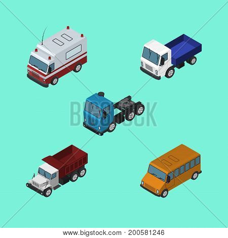 Isometric Transport Set Of Freight, Autobus, First-Aid And Other Vector Objects