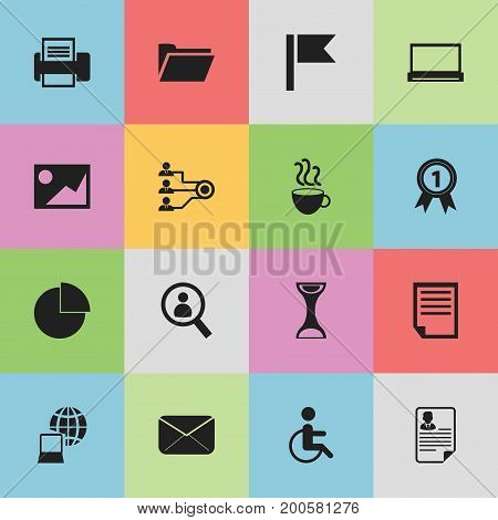 Set Of 16 Editable Bureau Icons. Includes Symbols Such As Magnifier, Picture, File And More