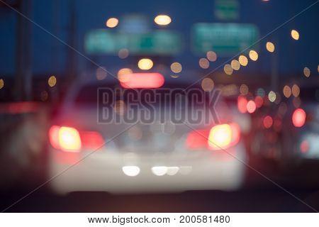 Blur Image Of Traffic Jam On Toll Way