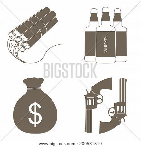 Wild west realistic icons set with dynamite, whiskey, money and guns, isolated vector illustration.