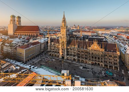 Aerial View On Munich Old Town Hall Or Marienplatz Town Hall And Frauenkirche In Munich
