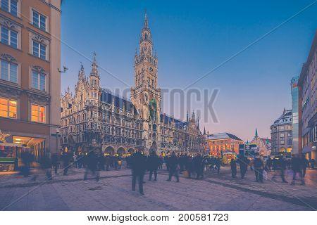 Night Panorama Of Marienplatz And Munich City Hall In Munich