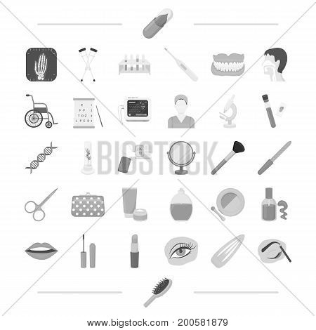 aboratory, cosmetology, makeup and other  icon in monochrome style.pencil, comb, medicine icons in set collection.
