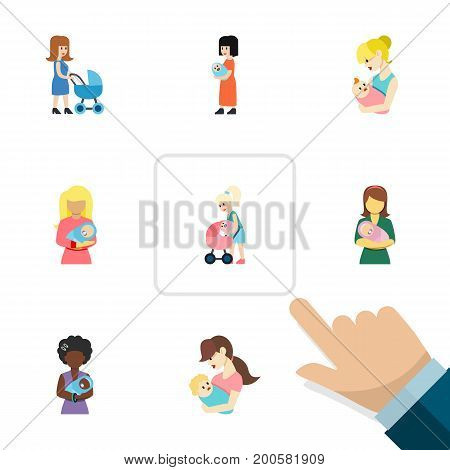 Flat Icon Mother Set Of Parent, Woman, Mother And Other Vector Objects