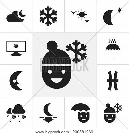 Set Of 12 Editable Climate Icons. Includes Symbols Such As Monitor, Lunar, Daystar And More