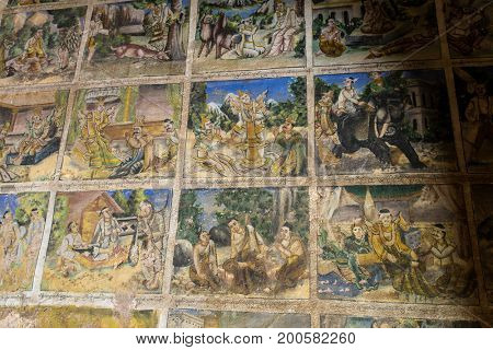 Old paintings on the wall of Pho Win Taung buddhist Caves in Monywa, Mandalay