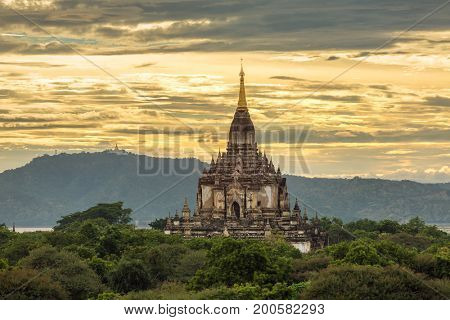 Beautiful sunset over the ancient pagodas in Bagan, Myanmar