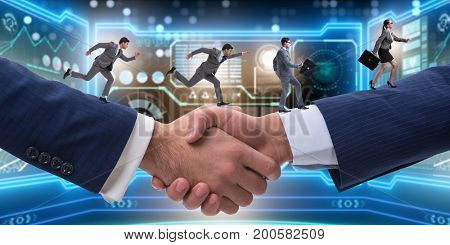 Cooperation concept with people running on handshake