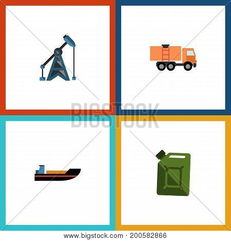 Flat Icon Oil Set Of Fuel Canister, Van, Boat And Other Vector Objects