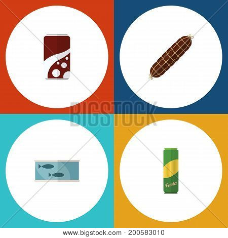 Flat Icon Meal Set Of Tin Tuna, Spaghetti, Smoked Sausage And Other Vector Objects
