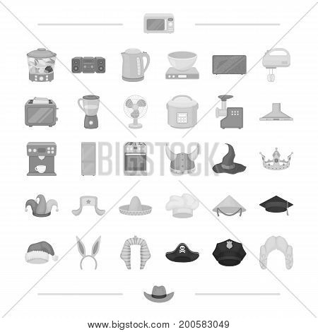 equipment, home, electro and other  icon in black style., head, clothing, technique icons in set collection.