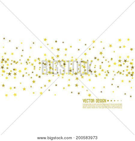 Falling gold stars. Abstract vector background with starry. The template for festivals, holiday and anniversary cards. Wallpaper.
