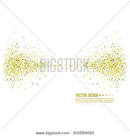 Golden star swirl. Abstract vector background with starry. The template for festivals, holiday and anniversary cards. Wallpaper.
