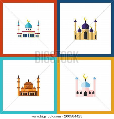 Flat Icon Minaret Set Of Mosque, Islam, Mohammedanism And Other Vector Objects